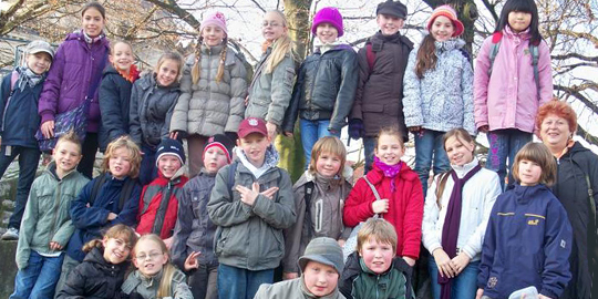 Gruppenfoto der teilnehmenden Schler der Grundschule am Wilhelmsberg